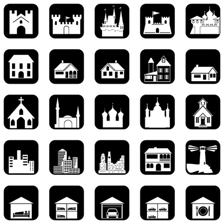 church building: set of icons on the architectural theme