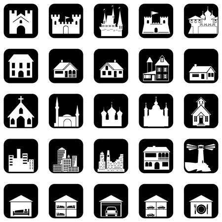 set van pictogrammen op het architecturale thema