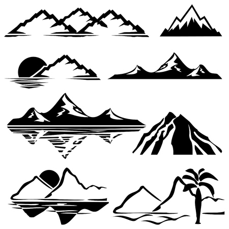 mountain peaks: set of icons of silhouettes of the mountains Illustration