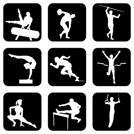 gymnast: set of icons. Athletic sports and gymnastics.