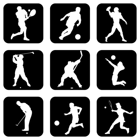contest: set of icons. Sports games with the ball.
