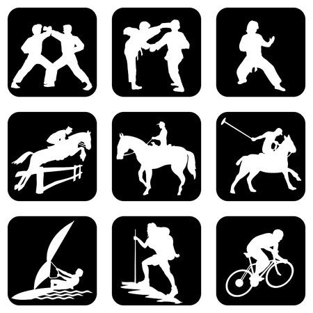 caballo saltando: conjunto de iconos. Deportes