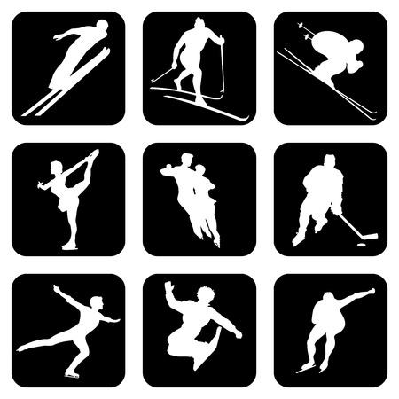 figure skater: Sports. Set of silhouette icons for your design.