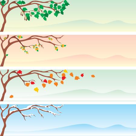 zeitlos: Satz von vier saisonal banner