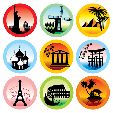 international landmark: set of icons for travel to various countries Illustration