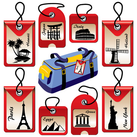 set of labels for travel to vaus countries Stock Vector - 7441801