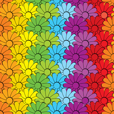 peace sign: seamless vector background of the flowers placed on the colors of the rainbow. Illustration