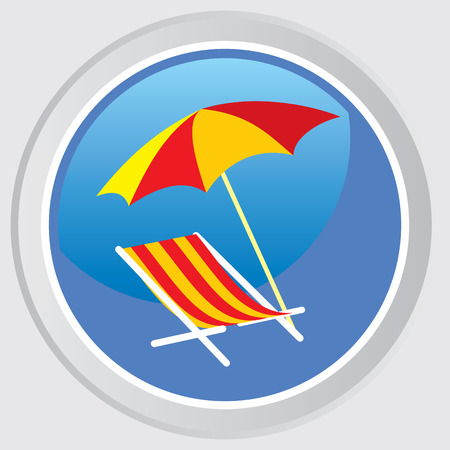 beach umbrella: Beach umbrellas and deck chairs. Illustration