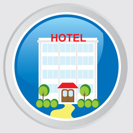 single entry: Button with the image of the facade of hotel Illustration
