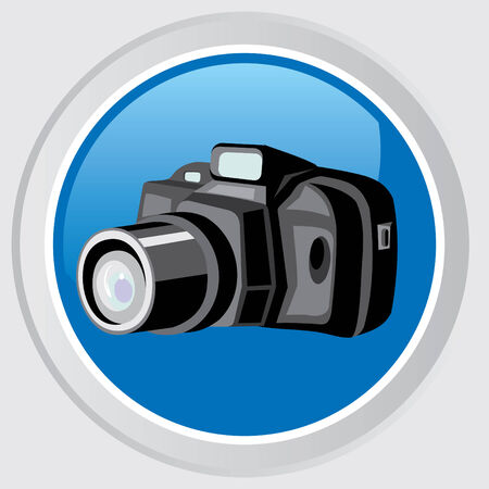 Button with the image of black professional camera Stock Vector - 7511115