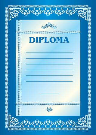 template for the blue award diploma Vector