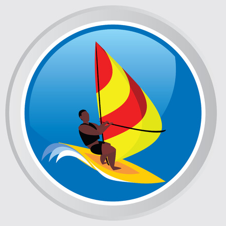 Button with the image an athlete on the board sailing Stock Vector - 7511114