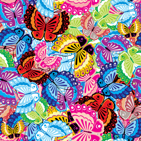 summer's: seamless background of the colorful butterfly. Illustration