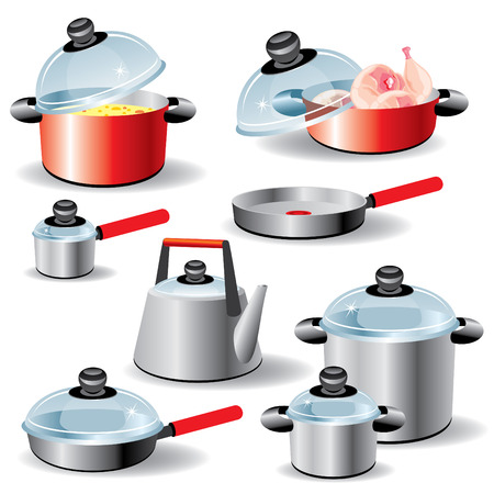 stew pot: set of kitchen utensils for hot food processing Illustration