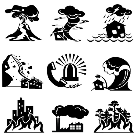 volcano: set silhouette icons of natural disaster