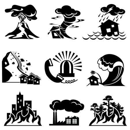 katastrophe: set Silhouette Symbole Naturkatastrophe  Illustration
