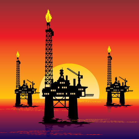 rig: image of three oil platforms in the sea at sunset