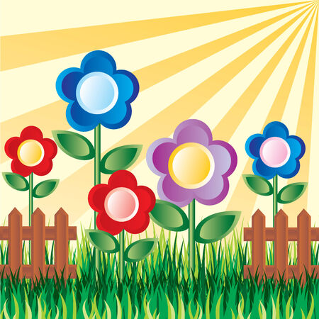 image of a flower garden on the background of the sun Stock Vector - 7584232