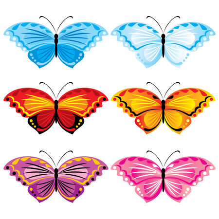 papillon rose:  set of images of colorful butterflies Illustration