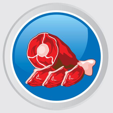 icon. Button with a red raw meat Stock Vector - 7584230