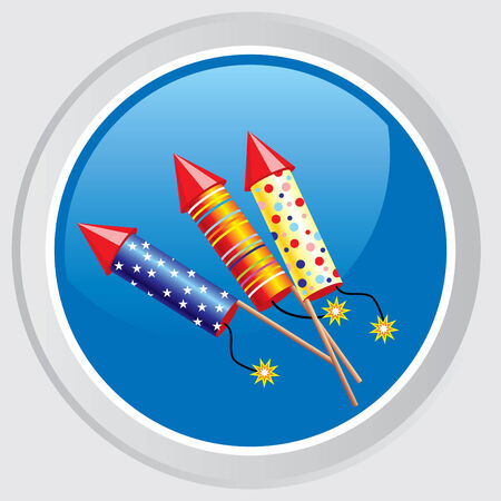 icon. Button with the image celebratory firecrackers Stock Vector - 7584228