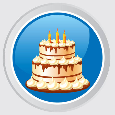 icon. Button with the image celebratory cake with candles Stock Vector - 7584231