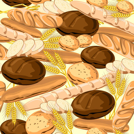 seamless  background on the Bread theme. Vector