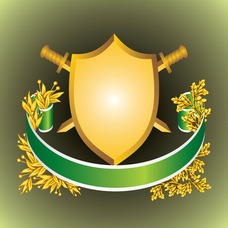 bay leaf: heraldic shield of the ribbons and leaves