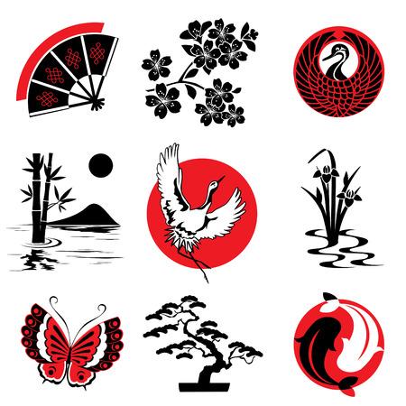 elementos de diseño de vectores en el estilo japonés