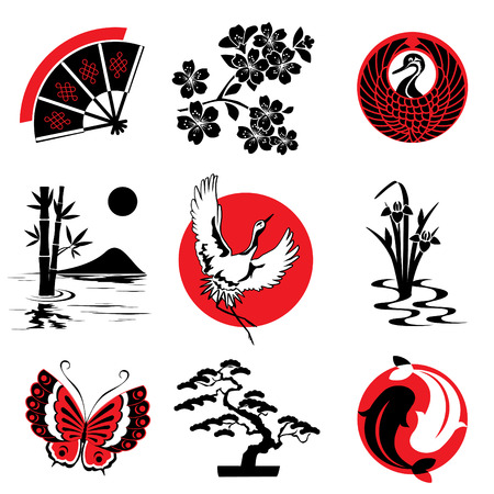 japanese flower: vector design elements in the Japanese style Illustration