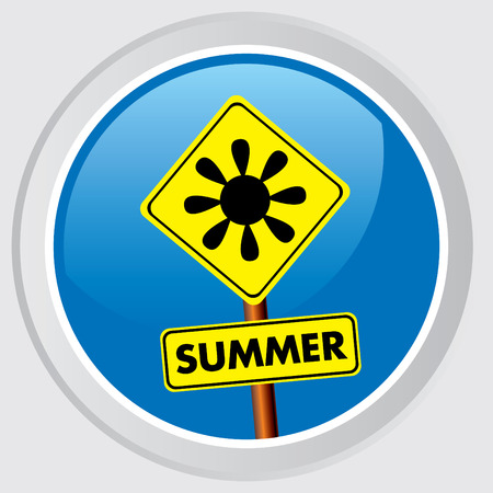 summer's: Vector icon. Button with the symbol-sign of summer