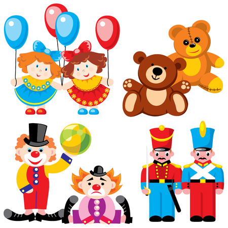 bear doll: vector images children toys - twins