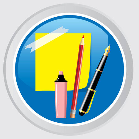 Vector icon. Button with the office supplies and stationery Stock Vector - 7611068