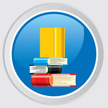 textbooks: Vector icon. Button with the image stacks of books and textbooks