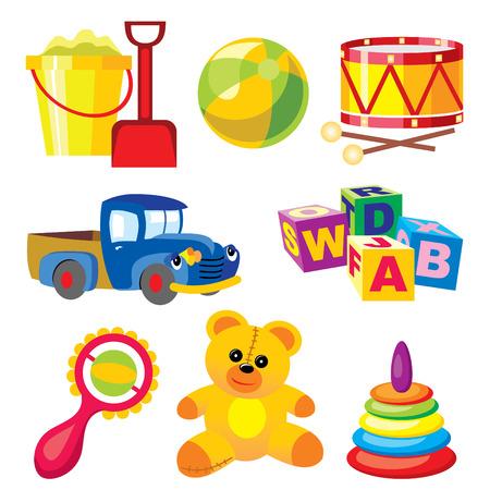 rammelaar: instellen van vector afbeeldingen kinderen speel goed  Stock Illustratie