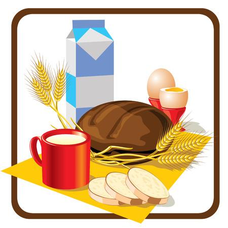 vector image on the breakfast theme  Ilustrace