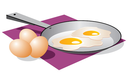 fried: Vector image of fried eggs and three eggs