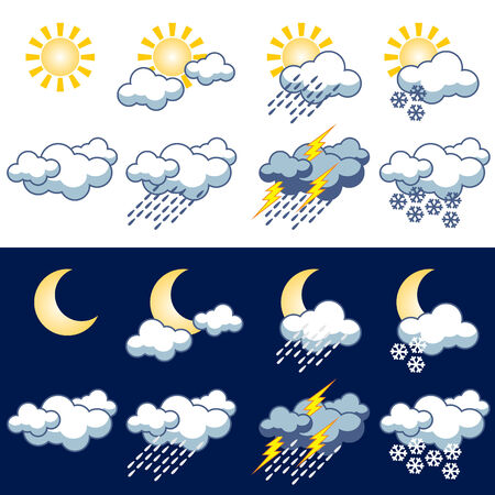 set icons with symbol weather events Stock Vector - 7690734