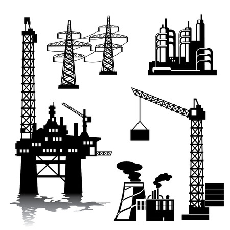 manufacturing equipment: set of silhouette images of industrial buildings and structures
