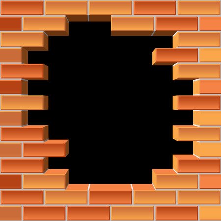 vector background of the brick wall with hole Vector