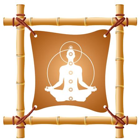 indian yoga: immagine vettoriale di una cornice di bamb� con un foglio teso Vettoriali