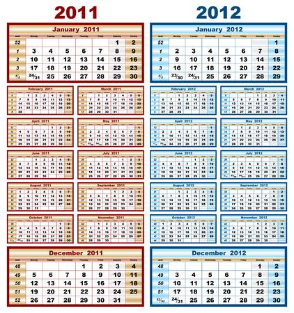 vector model calendar grid in 2011 and 2012 Stock Vector - 7806068