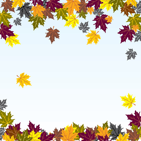 vector background image of the falling of autumn leaves