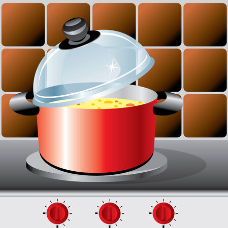 vectors image pot wich soup on the stove Vector