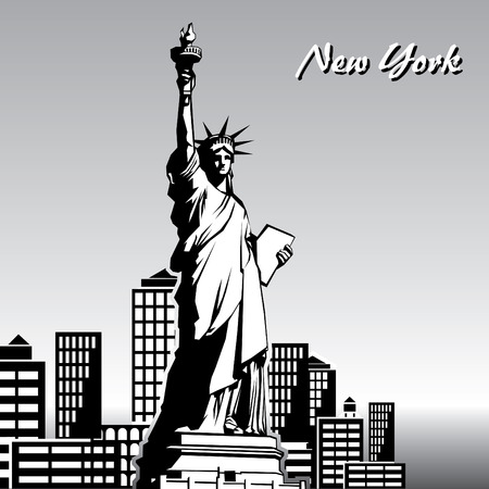 liberty: vector black and white image of the Statue of Liberty in New York Illustration