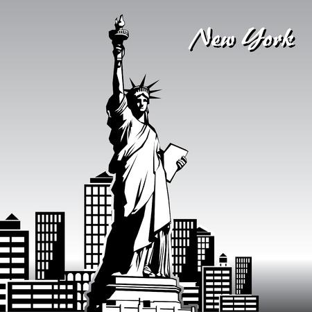 Vektor Schwarz / Weiß-Bild von der Freiheitsstatue in New York