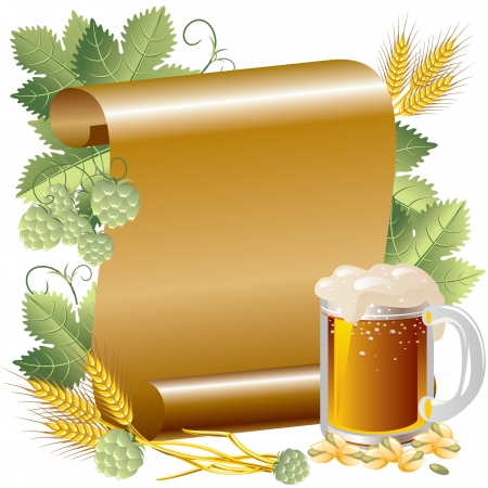 Vector Image beer in the background of the gold  paper and hop Vector