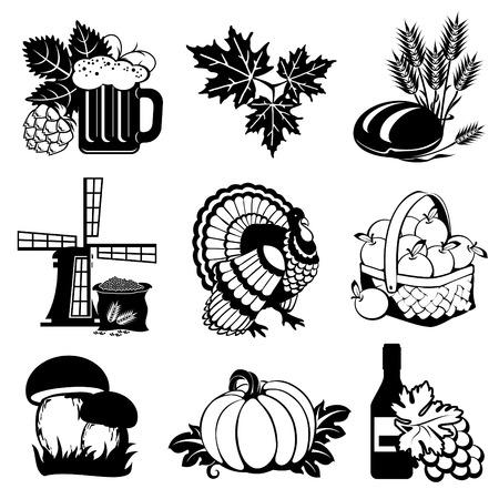 set van vector afbeeldingen van het silhouet van herfst festivals en oogst