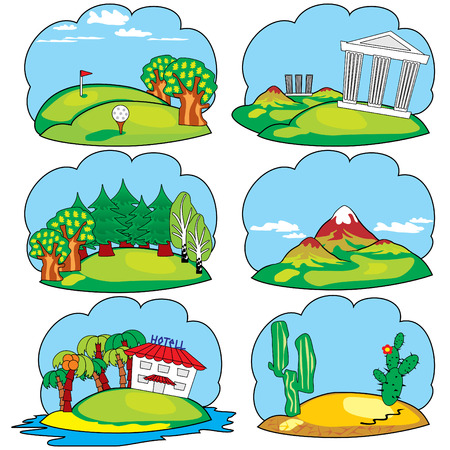 Set vector icons of a travel and  leisure theme Vector
