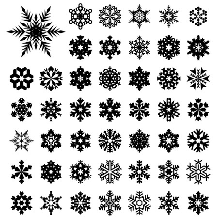 flakes: Set vector silhouette  of snowflakes